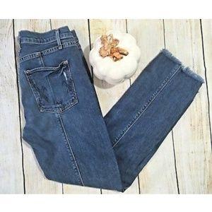 McGuire Jeans Skinny Ankle Medium Wash Raw Hem